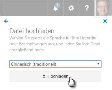 Benutzeroberfläche zum Hochladen von WebVTT-Dateien