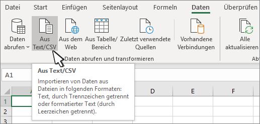 """Auswählen von Text/CSV auf der Registerkarte """"Daten"""""""