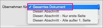 """Menü """"Anwenden auf"""" mit hervorgehobener Option """"Ganzes Dokument"""""""