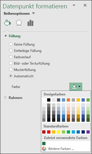 Excel-Kartendiagramm, Farboptionen für Kategoriediagramme