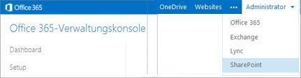 Ein Screenshot des Dropdownmenüs 'Administrator', wie es im Office 365 Admin Center angezeigt wird.