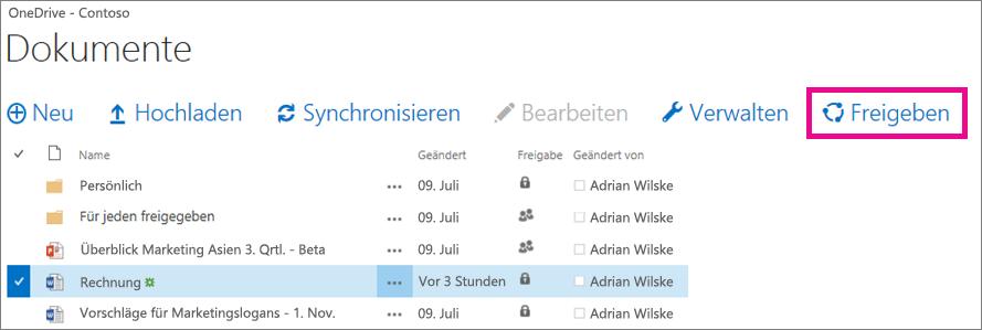 Freigeben einer Datei aus Ihrer OneDrive for Business-Bibliothek