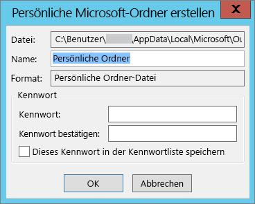 """Wählen Sie """"OK"""" aus, wenn Sie die PST-Datei nicht mit einem Kennwort schützen möchten."""