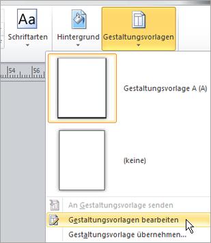 Auswählen von Gestaltungsvorlagen bearbeiten im Menü Gestaltungsvorlagen