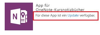 Screenshot des Updatelinks für die App für OneNote-Kursnotizbücher