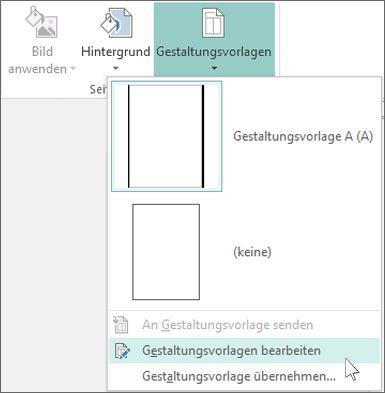 """Screenshot des Dropdownmenüs """"Gestaltungsvorlagen bearbeiten"""" in Publisher"""