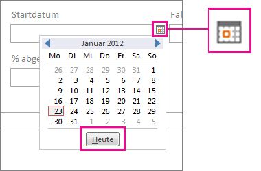 Datumsauswahl mit hervorgehobener Schaltfläche 'Heute'