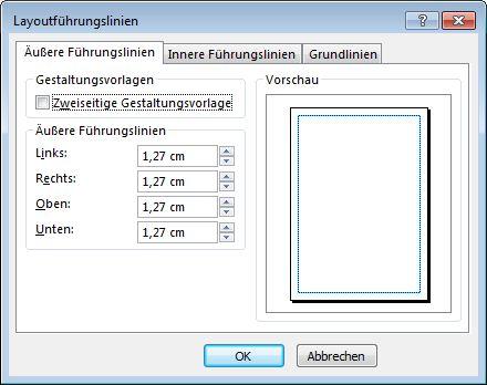 Publisher-Dialogfeld 'Layout-Führungslinien'.