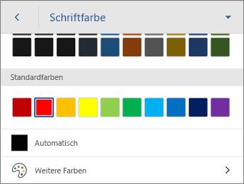 """Befehl """"Schriftfarbe"""" mit der Farbeinstellung """"Automatisch"""""""