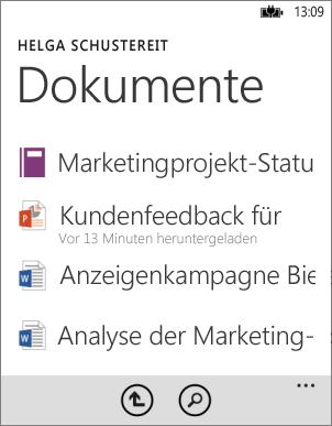 Dokumentliste in Office-App