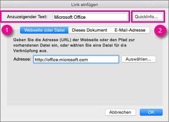 "Office für Mac-Dialogfeld ""Link"""