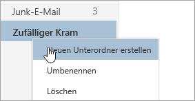 """Screenshot des Kontextmenüs """"Ordner"""", in dem """"Neuen Unterordner erstellen"""" ausgewählt ist"""