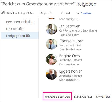Screenshot zum Beenden der Freigabe für alle Benutzer