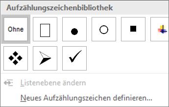 Screenshot der Optionen für Aufzählungszeichenformate