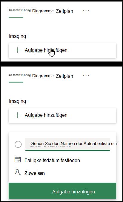 """Screenshot des Felds """"Aufgabe hinzufügen"""" in Planner"""