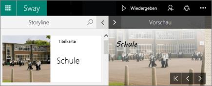 """Screenshot der Bereiche """"Storyline"""" und """"Vorschau"""""""