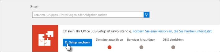 Eine Abbildung des Setup-Banners in der Office 365 Admin Center Preview
