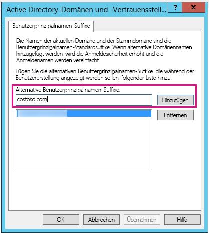 Ein neues UPN-Suffix hinzufügen