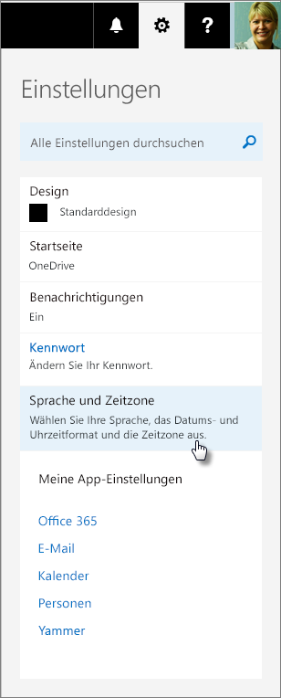 """Bereich """"Office 365-Einstellungen""""."""