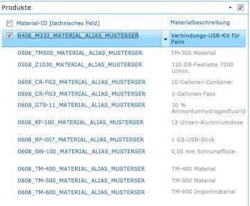 Auf der Website 'Produkte' wird eine Liste der Produkte aus Ihrer SAP-Bibliothek anzeigt.
