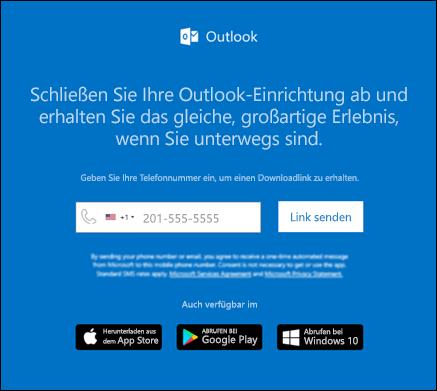 Sie können Ihre Telefonnummer eingeben, um Outlook für IOS oder Outlook für Android zu installieren.