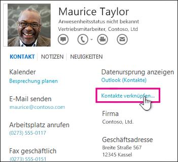 Schaltfläche 'Kontakte verknüpfen' auf der Visitenkarte