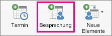 """Auf der Registerkarte """"Start"""" ist die Option """"Besprechung"""" hervorgehoben."""