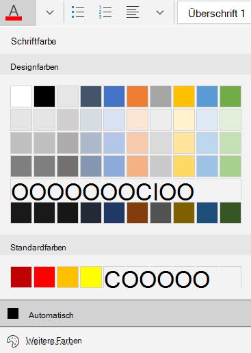 Optionen für die Schriftfarbe von Mail für Windows 10
