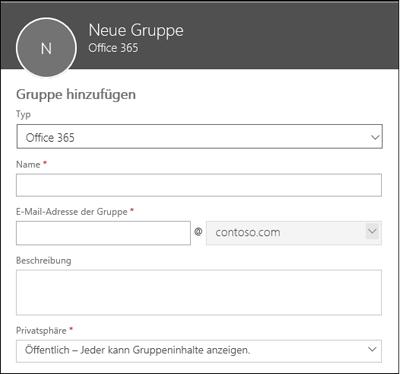 Eine neue Office 365-Gruppe, eine neue Verteilerliste oder eine neue Sicherheitsgruppe erstellen