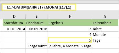 """=DATEDIF(D17,E17,""""MD"""") und Ergebnis: 5"""