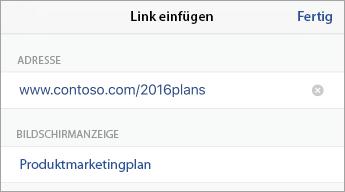 """Befehl """"Link"""" mit URL (Adresse) und anzuzeigendem Text"""