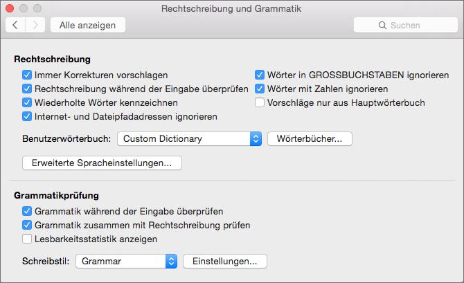 """Dialogfeld """"Rechtschreibung und Grammatik"""": Ändert Einstellungen, die die Überprüfung von Rechtschreibung und Grammatik beeinflussen"""
