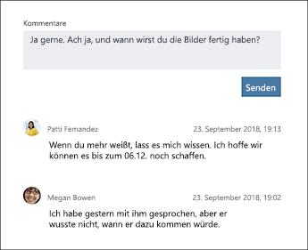 """Screenshot des Abschnitts """"Kommentare"""" einer Planner-Aufgabe"""
