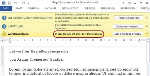 Hinweistext im zu prüfenden Dokument
