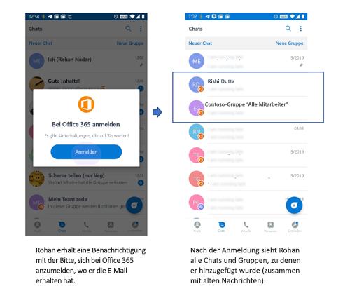 Bilder der Smartphone-Benutzeroberfläche für den Empfang von Chats und Gruppen durch einen Benutzer, der sich zuvor nicht auf Kaizala befand.