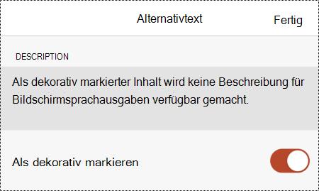 Die Option Als dekorativ markieren, die im Dialogfeld Alternativtext in PowerPoint für iOS ausgewählt ist.