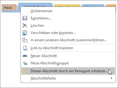 Screenshot: Schützen eines Abschnitts durch ein Kennwort in OneNote2016