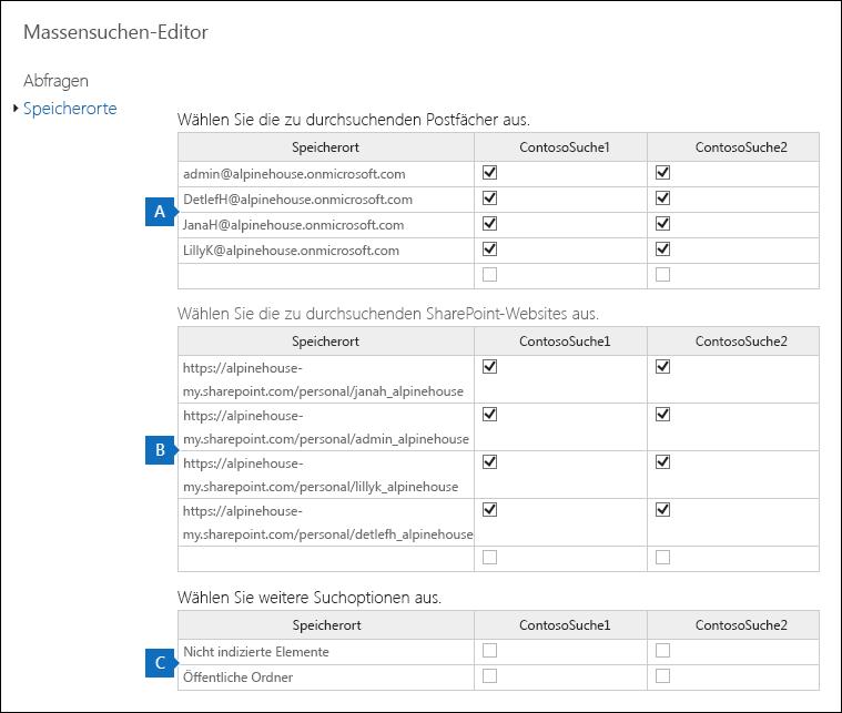 """Klicken Sie auf """"Massensuchen-Editor aktivieren"""", und klicken Sie dann auf """"Speicherorte"""", um Inhaltsspeicherorte hinzuzufügen oder zu entfernen."""