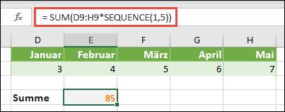 Verwenden Sie Matrixkonstanten in Formeln. In diesem Beispiel haben wir = Summe (D9: H (* Sequenz (1; 5)) verwendet.