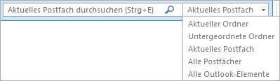 """Verwenden Sie das Suchfeld in Outlook, oder wählen Sie eine Postfachliste bzw. einen Ordner aus, um die Gruppe """"Bereich"""" zu suchen."""
