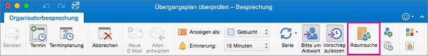 """Outlook-Menüband mit hervorgehobener Schaltfläche """"Raumsuche"""""""