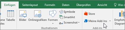 """Auf der Registerkarte """"Einfügen"""" gibt es die Gruppe """"Add-Ins"""" für die Verwaltung von Excel-Add-Ins."""