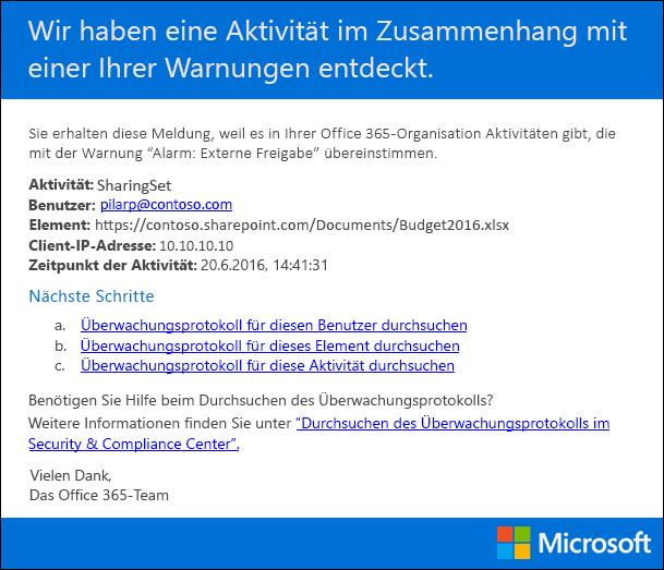 Beispiel für eine e-Mail-Notification für eine Aktivität Benachrichtigung gesendet werden