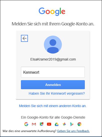 Geben Sie Ihr Gmail-Kennwort ein.