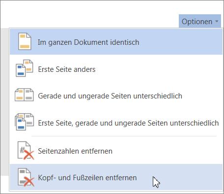 """Option """"Kopf- und Fußzeilen entfernen"""""""
