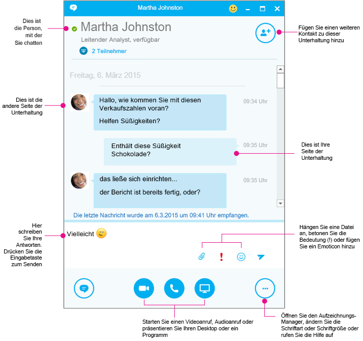 Skype for Business-Unterhaltungsfenster in Diagrammform
