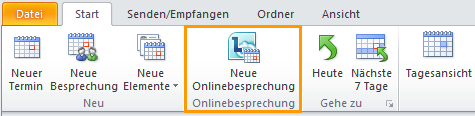 Abbildung des Outlook-Menübands