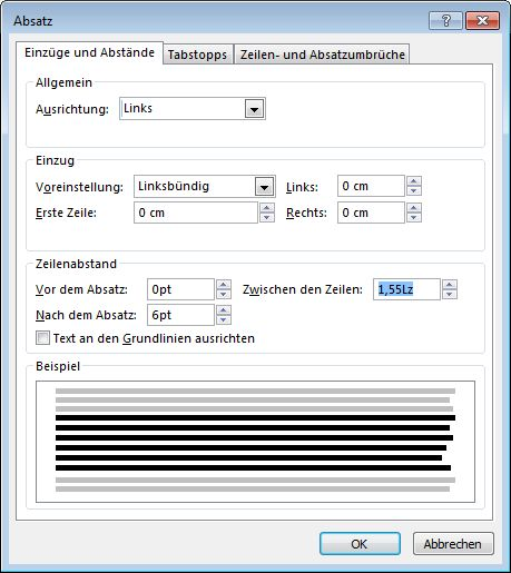 "Screenshot des Dialogfelds ""Absatz"" in Publisher"