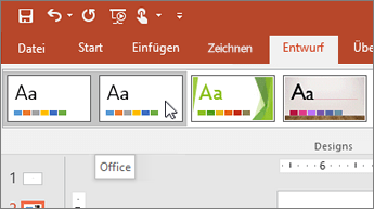 "Screenshot des Office-Designs auf der Registerkarte ""Entwurf"""