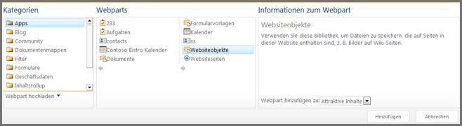 Webpartkategorien